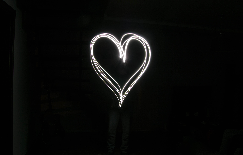 White heart on black solcare